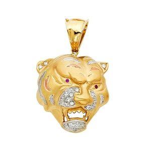 14K Yellow Gold  CZ Tiger Pendant